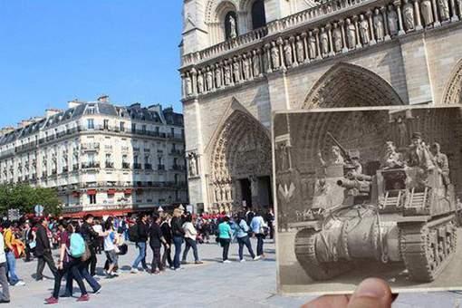二战老照片融入现代场景,法国的过去与现在