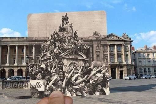 二戰老照片融入現代場景,法國的過去與現在
